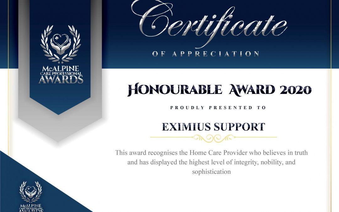 Eximius Wins McAlpine Care Professional Business Award